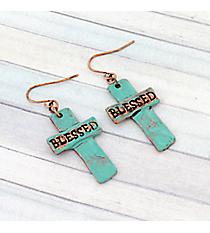 Patina Blessed Cross Earrings #8757E-BLESSED