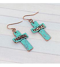 Patina Hope Cross Earrings #8757E-HOPE