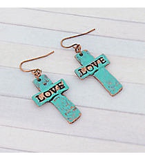 Patina Love Cross Earrings #8757E-LOVE