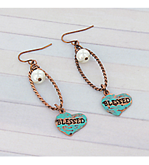"Coppertone Loop and Turquoise ""Blessed"" Heart Earrings #8758E-BLESSED"