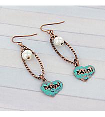 """Coppertone Loop and Turquoise """"Faith"""" Heart Earrings #8758E-FAITH"""