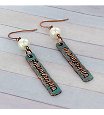 Dangling Patina and Coppertone Blessed Earrings #8760E-BLESSED