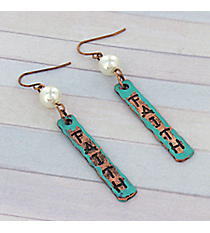 Dangling Patina and Coppertone Faith Earrings #8760E-FAITH