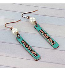 Dangling Patina and Coppertone Hope Earrings #8760E-HOPE