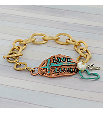 Tri-Tone Live Blessed Toggle Bracelet #8726B-BLESSED