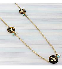 """34"""" Goldtone and Tortoise Fleur De Lis Disk Necklace #8765N-FLEUR-TQ"""