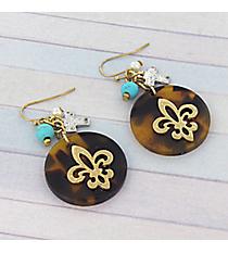 Tortoise and Goldtone Fleur De Lis Earrings #8797E-FLEUR-TQ