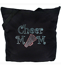 "Sparkling ""Cheer Mom"" Large Zipper Tote #8802 7"" x 9.5"" Design CD02 *Personalize Your Colors"