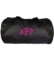 "18"" Black Barrel-Sided Duffle Bag #8805-BLACK"