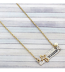 "19"" Two-Tone Blessed Bar Necklace #8806N-BLESSED"