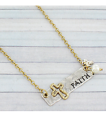 "19"" Two-Tone Faith Bar Necklace #8806N-FAITH"