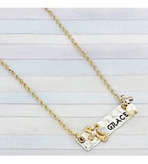 """19"""" Two-Tone Grace Bar Necklace #8806N-GRACE"""