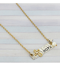"19"" Two-Tone Hope Bar Necklace #8806N-HOPE"