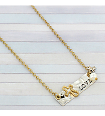 "19"" Two-Tone Love Bar Necklace #8806N-LOVE"