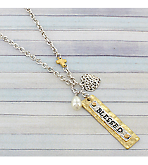 "18"" Two-Tone ""Blessed"" Charm Necklace #8808N-BLESSED"
