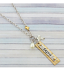 "18"" Two-Tone ""Faith"" Charm Necklace #8808N-FAITH"