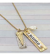 "30"" Two-Tone Blessed Charm Necklace #8815N-BLESSED"