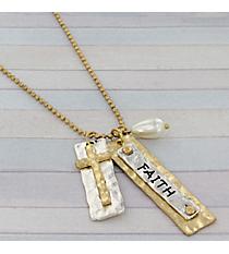 """30"""" Two-Tone Faith Charm Necklace #8815N-FAITH"""