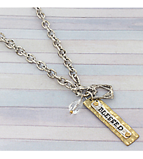 "18"" Two-Tone Blessed Charm Toggle Necklace #8819N-BLESSED"