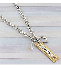 """18"""" Two-Tone Faith Charm Toggle Necklace #8819N-FAITH"""