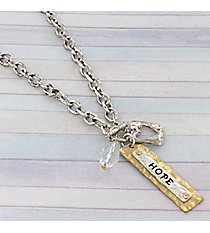 "18"" Two-Tone Hope Charm Toggle Necklace #8819N-HOPE"