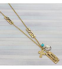 "33"" Goldtone Faith, Hope, and Love Charm Cluster Necklace #8820N-CROSS"