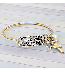 Live Your Fairytale Two-Tone Hook Bracelet #8823B-LIVE