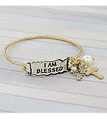 """I Am Blessed"" Two-Tone Hook Bracelet #8823B-BLESSED"