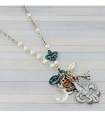 """19"""" Silvertone Fleur De Lis Cluster Necklace #8831N-FLEUR"""