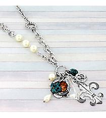 """27"""" Silvertone Fleur De Lis Cluster Necklace #8833N-FLEUR"""