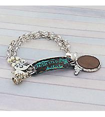 Faith, Strength, and Love Silvertone Triple Strand Bracelet #8842B-FSL