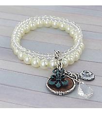 Penny and Fleur De Lis Charm Double Strand Pearl Stretch Bracelet #8847B-FLEUR