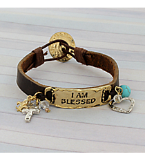 I Am Blessed Goldtone and Leather Bracelet #8859B-BLESS