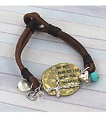 Goldtone Isaiah 41:10 Double Strand Leather Bracelet #8865B-ISAIAH4110