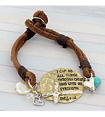 Goldtone Philippians 4:13 Double Strand Leather Bracelet #8865B-PHIL413