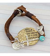 Goldtone Psalm 107:1 Double Strand Leather Bracelet #8865B-PSALM1071