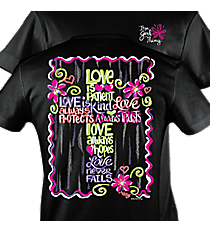 """Love is Patient"" Cross Black T-Shirt #8876 *Choose Your Size"