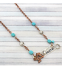"19"" Two-Tone Texas ""Faith"" Bar Necklace #8878N-FAITH"