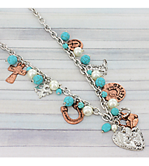 """20"""" Western Theme Charm Necklace #8880N"""