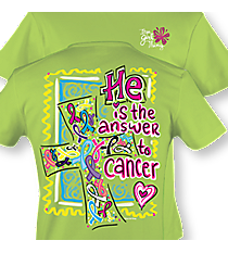 """He is the Answer to Cancer"" Lime T-Shirt #8888 *Choose Your Size"