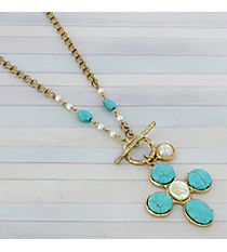 "19"" Goldtone, Turquoise, and Pearl Cross Necklace #8896N"