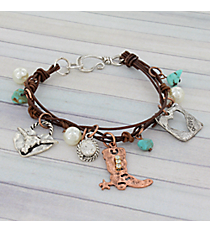 Longhorn and Cowboy Boot Charm Bracelet #8905B-BOOT