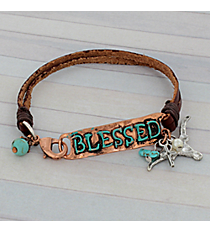 Blessed Coppertone and Leather Bracelet #8909B-BLESSED