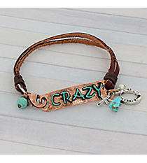 Crazy Coppertone and Leather Bracelet #8909B-CRAZY