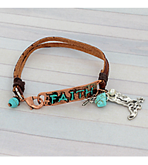 Faith Coppertone and Leather Bracelet #8909B-FAITH