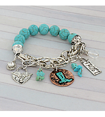 Silvertone and Turquoise Western Theme Stretch Bracelet #8918B