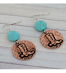 Coppertone Cowboy Boot Earrings #8925E-BOOT