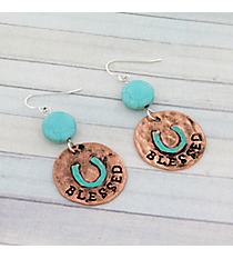 "Coppertone and Turquoise ""Blessed"" Horseshoe Earrings #8926E-BLESSED"