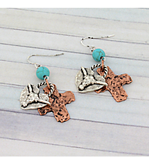 Silvertone Longhorn and Coppertone Cross Earrings #8929E-LONGHORN