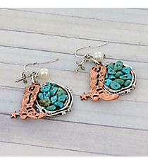 Coppertone Boot and Turquoise Stone Earrings #8930E-BOOT
